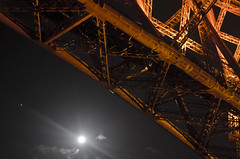 Moon and Mars under the Forth Bridge (Grant_R) Tags: mars moon lights planet lunar firthofforth forthbridge forthbridges forthrailbridge railbridge litup grantr