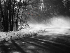 And as the smoke clears... (Tolly0524) Tags: light blackandwhite sun snow fog forest landscape shadows smoke teen colorized rays