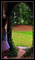 Looking out from the Magical cottage (Dazzygidds) Tags: lighting england beautiful exploring softness daughter katherine devon belvedere colourful charming statelyhome rosegarden muted contemplation elegance stately kenton woodlandgarden powderhamcastle estuaryview powderhamcastleestate ivydoorway