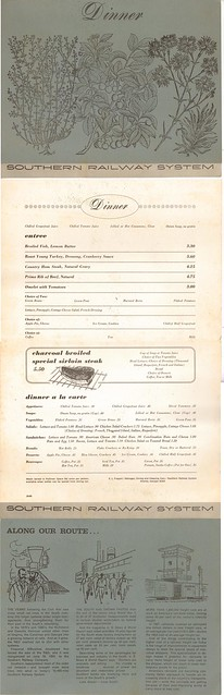 SOU 1969 Dinner Menu from The Crescent