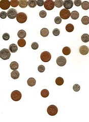 Falling (RSL.) Tags: england white money english silver britain scanner falling british pennies coppers pounds  recession scannerimage