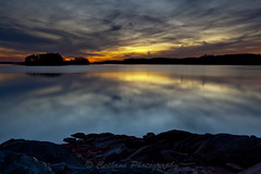 Mirrored Evening (John Cothron) Tags: autumn sunset sky usa cloud sun color reflection fall nature rock canon georgia landscape gainesville sunny lakelanier hallcounty mountainviewpark brownsbridgeroad johncothron 5dmkii cothronphotography