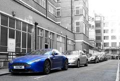 Standing Out (BenGPhotos) Tags: blue london sports car martin s supercar v8 aston spotting astonmartin dmc vantage cobalt selectivecolour amv8 pansonic fz38 dmcfz38 v111pwr