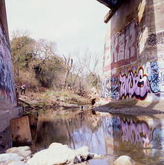 Tunks (everydaydude) Tags: california reflection film mediumformat square graffiti eastbay tunks hasselblad500cm osd sker