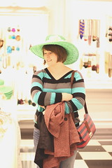 (alyssa roth) Tags: friends portrait people fashion shopping 50mm stripes hats foreverxxi
