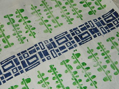 blue and green (CaZaTo Ma) Tags: blue green screenprinting fabric blockprinting