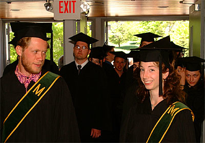 Todd Andrews and Stephanie Aldrich Lead the Class of 2001 Into Persons Auditorium for Their Commencement Exercises.