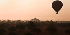 Balloon over Bagan (NastyNinja) Tags: india hot tree fog sunrise asian temple pagoda asia mark buddha burma indian air south hotair balloon dry buddhism east ii 5d myanmar archeology birma pagan bagan tempel pagode buddhismus 2470
