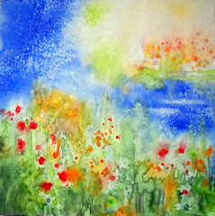 Art: watercolour:...NOSTALGIA,  a soul caress... (Nadia Minic) Tags: flowers summer sun nature water fleurs eau aquarelle bluesky peinture bleu nostalgia ciel soul heat colourful luxembourg t caress longing color nostalgique nadiaminic nadiaart
