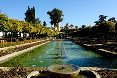 Gardens of The  Royal Alcazar (Palace), Cordoba,Spain (-RejiK) Tags: trees sunlight gardens garden word de los ancient nikon alfonso bright terraces sunny symmetry historic christian arabic ferdinand aragon isabella fountains lovely crdoba fortress primary dynasty monarchs reyes residences alqasr alczar castile cristianos umayyad reconquista d90 abbasid arrays caliphate emirs  spainvisit rejik