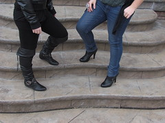 Flats Vs. Heels. (Elisa.Spinello) Tags: fashion stairs sisters outside outdoors pretty photoshoot boots steps jewelry jeans rocker heels booties leatherjacket partial leggings leatherboots rockergirl