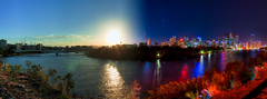 Brisbane - night and day (Stuart Addelsee) Tags: city sunset sky panorama sun building water night clouds canon buildings river dark eos boat day cityscape bright dusk pano australia brisbane panoramic qld queensland cbd brisbaneriver hdr brisbanecity kangaroopoint