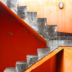 Abstract stairs (Sallyrango) Tags: orange abstract detail building stairs grey architecturaldetail dominicanrepublic architectural caribbean 100faves anglesanglesangles 500l2 100commentgroup