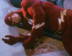 The Flash unconscious (Guardian Screen Images) Tags: show red speed john scarlet comics book dc tv comic allen brothers flash books super tights warner barry hero superhero series network wesley tight bros spandex 1990 lycra speedster the shipp
