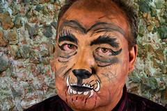 Biest / Beast (explored) (akumaohz) Tags: portrait people brown color halloween germany deutschland person blood nikon colorful mask makeup indoor beast braun farbe fasching karneval blut personen maske drinnen schminke biest d3200