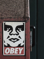 Obey (Steve Taylor (Photography)) Tags: hinge red newzealand woman brown streetart black green art texture strange face station metal closeup lady handle graffiti sticker rust cabinet obey canterbury nz southisland shepardfairey corrosion greymouth