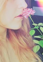 tenderness (NataJester) Tags: flowers woman flower girl face rose lips tenderness