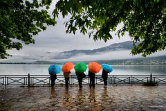 Color Coded (alexring) Tags: mist lake water rain fog clouds umbrella nikon colorful greece d750 ioannina     alexring