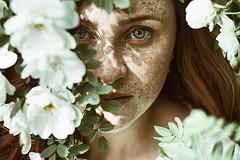 Fairytale (alexandra_bochkareva) Tags: flowers portrait flower girl face female hair fire ginger fairy freckles feelings helios freckled girlish