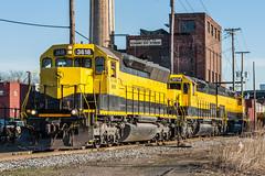 Cross Street Yellowjackets (sullivan1985) Tags: county street new york railroad burlington train bogota cross pacific cab tunnel bn southern sp western jersey motor bergen standard northern freight westbound susquehanna ws2 susieq yellowjackets sd45 emd sd40t2 nysw sd452 su99