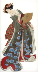 Woodblock print, about 1820s, Japan // by Katsushika Hokusai (mike catalonian) Tags: portrait color japan female graphicart print fulllength relief printing kimono woodblock xixcentury hokusai1820s
