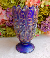 Imperial Carnival Glass Vase ~ Corn ~ Aurora Jewels ~ Blue (Donna's Collectables) Tags: carnival blue glass corn aurora imperial vase jewels ~