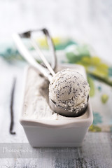 Coconut and poppy seed ice cream (vanilllaph) Tags: food white cold vertical composition ball menu recipe table dessert cookbook frozen sweet cook seed tasty gourmet delicious homemade freeze icecream poppy vanilla summertime culinary scoop