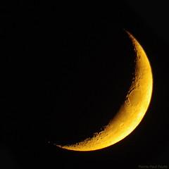 Croissant du soir (Pierre-Paul Feyte) Tags: moon jaune lune or absorption atmosphérique