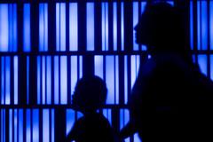 Silhouete of Mother and Child (OleMoonTales) Tags: blue art public lines silhouette walking exposure random candid minimalism motherandchild demographic randomaamerica