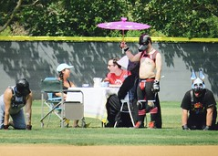 IMG_4485 (danimaniacs) Tags: shirtless dog man guy field leather baseball parasol softball pup teaparty sistersofperpetualindulgence outfield