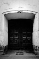 () Tags: life street red blackandwhite black monochrome wall doors horizon ghost gothic grain surreal gift intriguing vignette           romantism