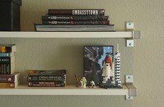 Geek shelf (almostbunnies) Tags: nerd ikea japan computer book office geek lego desk shelf livingroom gamer simple spaceshuttle nook geeky spacecenter organized behr organizing neutral unclutter nanoblock imgp8548