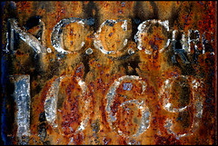 Corrosion 1069 (Junkstock) Tags: old railroad arizona abstract color texture closeup typography photography photo graphics junk rust iron paint graphic photos decay rustic transport rusty trains number textures photographs numbers photograph type americana weathered abstraction aged peelingpaint artifact distressed corrosion artifacts patina relic rustyandcrusty oldstuff oldandbeautiful oldusedobjects