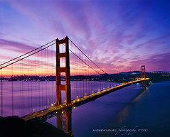 The Golden Gate Bridge - Violet Flame (Andrew Louie Photography) Tags: bridge winter sun clouds sunrise golden gate san francisco kodak anniversary violet flame burn 4x5 february 75 2012 sinar e100sw