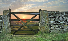 Framing the sunset. (sidibousaid60) Tags: uk sunset wall landscape gate derbyshire peakdistrict skyclouds chelmorton fhdr