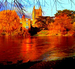 Hereford Cathedral Across the River Wye Iphone Pic #dailyshoot (Leshaines123) Tags: city colour river picnic cathedral herefordshire hereford iphone wye dailyshoot