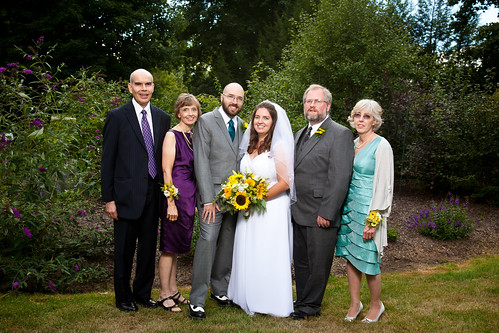 Kelli (Copeland) Wilson (bride), Brian Copeland (to the right of bride) & his wife, Roxanne (Joy) Copeland (far right), with Damian Wilson (groom), his father Richard Wilson (far left) & his wife, Sharon (Fringley) Wilson.
