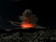 Old lava, new lava (etnaboris) Tags: winter italy mountain snow night glow sicily moonlight etna eruption 2012 incandescence lavaflows lavafountain eruptioncolumn newsoutheastcrater paroxysmaleruptiveepidode