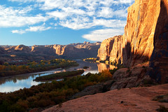 Moab River (albinobobman) Tags: morning trees reflection water sunrise river outdoors rocks stream desert hike hills moab range