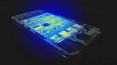 Iphone 4G Blue (GONZALO BAEZA) Tags: chile new york nyc blue usa color apple azul airplane los mac angeles jobs miami manhattan steve cell mobil screen mode pantalla 4g iphone naranjo macbook