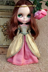 For Chrissy  Renaissance  (Kikihalb  Forest~Tales ) Tags: pink work gold beads outfit doll factory dress handmade embroidery teal silk chiffon shakespeare skirt clothes blythe shawl gown renaissance beading brocade embroideries dupioni
