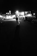 Devon, wedding night, walking back to the Cannery Pier Hotel (abrahamhyat) Tags: wedding blackandwhite fog loft bride grain photojournalism documentary reception astoria gown bridal redbuilding cannerypierhotel