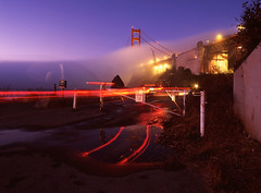 Ft. Baker Oddity (RZ68) Tags: morning bridge blue light sunset reflection film fog night truck sunrise reflections t puddle dawn lights golden gate long exposure baker fort no marin low ghost foggy trails velvia hour headlands ft 6x7 streaks provia ggnra e100 rz68