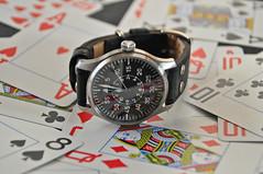 Stowa Flieger B & Poker7 (xxningxx) Tags: cards watches ace watch chips queen poker timepiece wrist cartes montre flieger uhren stowa