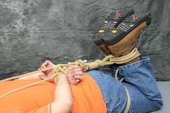 DSC_0171 (jakewolf21) Tags: work boots bondage rope jeans tied dakota hogtied