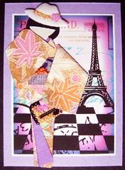 ATC913 - East meets west (tengds) Tags: pink flowers orange paris atc eiffeltower lavender kimono obi papercraft japanesepaper washi ningyo handmadecard chiyogami yuzenwashi japanesepaperdoll origamidoll tengds