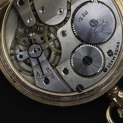 Pocket Watch ~ Macro ~ Week 8 (kentishmayde) Tags: macro clock teeth watch winder cogs brass mechanism patina casing pocketwatch workings verdegris week8 852 swissmade 52weeksofpix2012