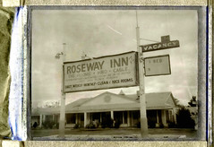 Roseway Inn (Nick Leonard) Tags: arizona blackandwhite building film television architecture analog vintage polaroid tv route66 inn fuji nick motel roadtrip cable daily scan retro clean negative fujifilm weekly vacancy hbo monthly holbrook motelsign landcamera packfilm polaroidlandcamera polaroidcamera instantfilm peelapart epson4490 fp3000b fujifp3000b 3000asa polaroidcolorpackiv nickleonard bigrooms onebed nicerooms rosewayinn believeinfilm polraroidcolorpack