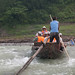 Sampan in the rapids on the Shennong Stream