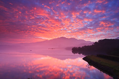 () (samyaoo) Tags: morning light lake mountains reflection tree misty clouds sunrise landscape foggy taiwan     sunmoonlake thelalu nantou
